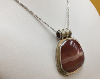 Vintage 925 Sterling Silver Pendant With Agate Stone!!!