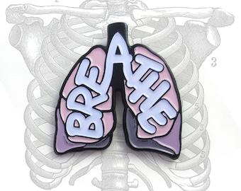 BREATHE Anatomical Lungs enamel lapel pin