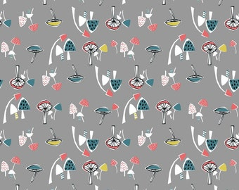 Organic Knit Fabric Anya Mushrooms Monaluna Gray Coral Teal Citron