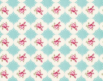 Tanya Whelan 'Rosey' Cameo Rose in Teal Cotton Fabric