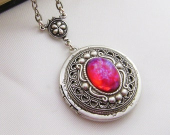 Dragons Breath Glass Opal Antique Style Locket, Valentine Gift For Her
