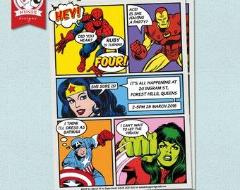 SUPERHERO Birthday Invitation //  Superhero Party // Kids Birthday // Custom, Printable
