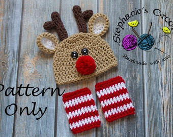 Crochet PATTERN - Newborn to 12 months Reindeer set Photo Prop Set -Instant Download PDF- Photography Prop Pattern