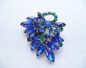 Beautiful Multi Color Blue Rhinestone Brooch