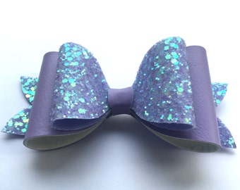 Lilac Glitter and Leather Bow / Glitter Bow / Lilac  /  Glitter Fabric Bow / Leather / Sparkly Hair Clip /  Bow Hair Clip