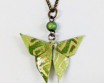 Paillon in Oigami necklace - Green Khaki + gold