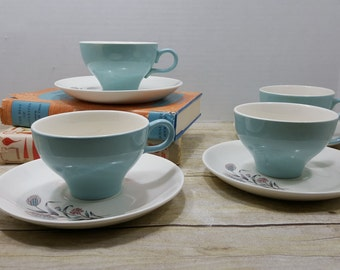 Set of 4 Mid Century Cups and Saucers, 1960s Teal and pink
