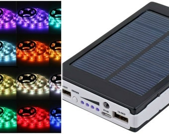 Solar Battery Powered 5050 RGB LED Strip Light Kit - USB Power Bank - 1 meter  Camping Kit