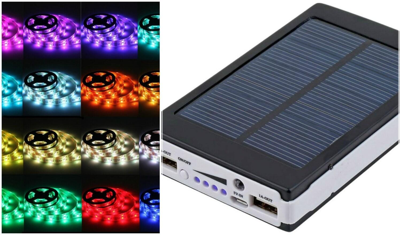 solar battery powered 5050 rgb led strip light kit usb power. Black Bedroom Furniture Sets. Home Design Ideas