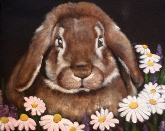 Tote Bag hand painted portrait of Gracie the bunny