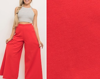 Christmas party- Vintage 70s RED wide leg PALAZZO high waist 1970s disco seventies HOLIDAY party pants
