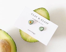 Avocado Earrings - beautiful handmade polymer clay jewellery by Clay & Clasp