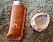 wolf calling the pack handmade leather bic lighter case