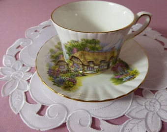 Vintage Royal Stafford Bone China English Thatched Cottage Teacup and Saucer