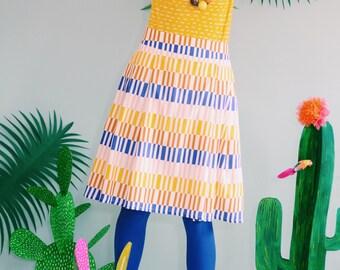 "Favorite skirt with pleats ""STRICHELCHEN"" in Rosé ochre blue"