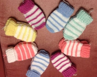 Hand Knit baby Thumbless Mittens