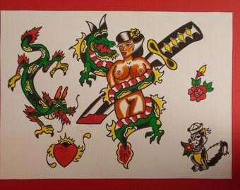 Pin-up Sword And Dragon Tattoo Flash, traditional american tattoo flash, dragon tattoo flash,dagger tattoo flash,pin-up tattoo flash,flash