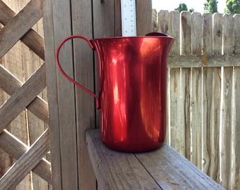 Pitcher -  Red Aluminum Kitchen - art deco - Water Pitcher - Vintage