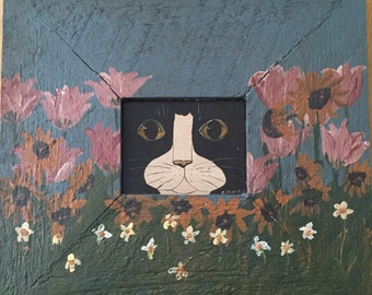 Vintage Folk Art Cat Painting...Free Shipping...Signed and Dated