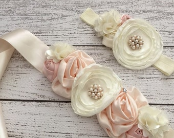 Flowergirl/Photography prop - Headband and Ivory Pink Floral Satin Sash SET