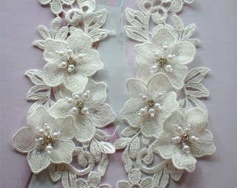 applique with pearls rhinestone lace applique for wedding bridal