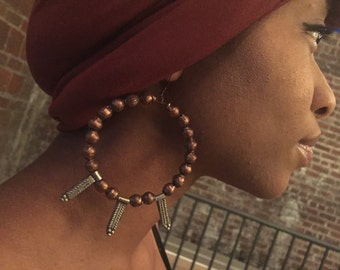 Afrocentric Jewelry -  Ethiopian Copper & Fertility Bead Earrings