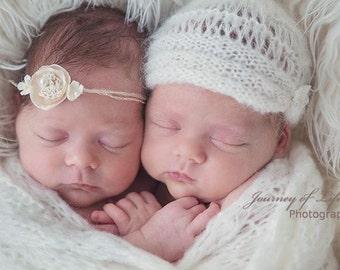 Daisy Chain Newborn Tieback. Newborn headband, Newborn prop, Photo Prop, Photography Prop, Pink Tieback, Baby Prop, Cream headband, Ivory