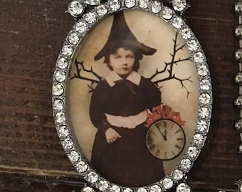 Witch with clock picture frame necklace