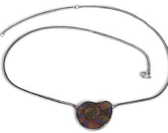 Necklace Ammonite Pendant Silver Jewelry