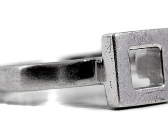 Square Art Silver Ring