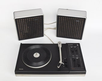 Vintage Record Player / Phillips 914 Stereo Speakers / Retro Space Age 70's Vinyl Player