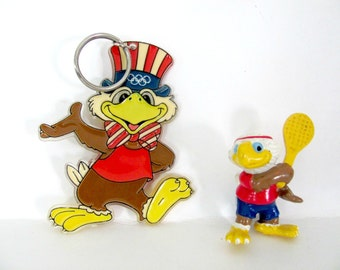 Vintage Sam The Olympic Eagle, 1980's Olympic Mascot, Los Angeles Olympics Collectible Key Chain and Figure, Vintage Los Angeles