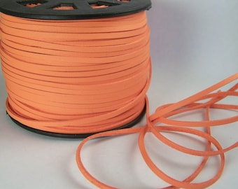 Coral Faux Leather Cord 20 Feet USA Seller