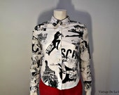 vintage fitted Moschino blouse Paris french black and white xs