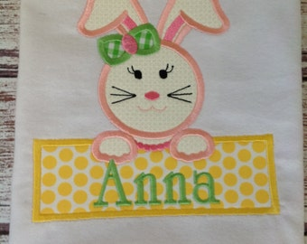 Girl's Shirt Appliqued with Easter Bunny and Personalized with Name