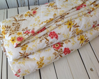 """SALE Vintage Comforter 115"""" x 115"""" King Floral Red Gold Machine Stitched Farm House Linen Home Living Retro Bedding by picadillymarket"""