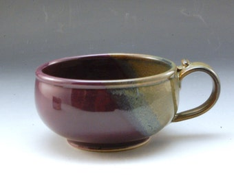 Handmade  Pottery Stoneware Soup  Bowl Purple and  Brown