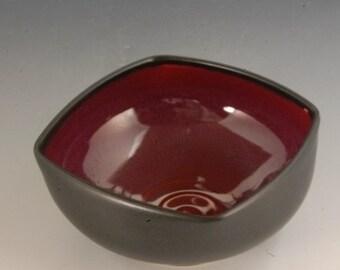 Handmade Pottery Square  Bowl Black and Red Stoneware by Mark Hudak