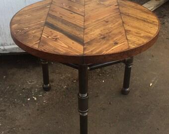 Herringbone Coffee Table W/ Pipe Tri-Leg Base