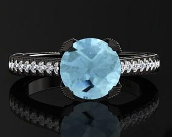 Aquamarine Engagement Ring Aquamarine Ring 14k or 18k Black Gold Matching Wedding Band Available SW5AQUABK