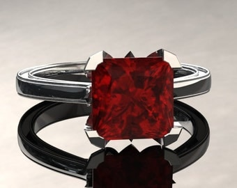 Ruby Engagement Ring Princess Cut Ruby Ring 14k or 18k White Gold Matching Wedding Band Available SW17RUBYW