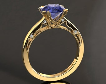 Tanzanite Engagement Ring Tanzanite Ring 14k or 18k Yellow Gold Matching Wedding Band Available W22TANZY