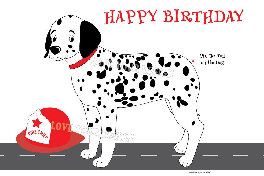 Fireman Pin The Tail On The Dalmatian Dog Game For Birthday