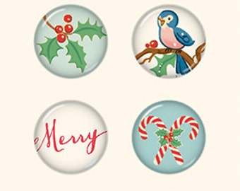 October Afternoon Under the Tree Tin Pins, Christmas Themed Flair Buttons, Scrapbook Embellishment