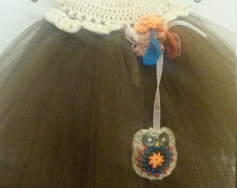 Coffee crochet and chocolate tulle, little owl buddy toddler dress