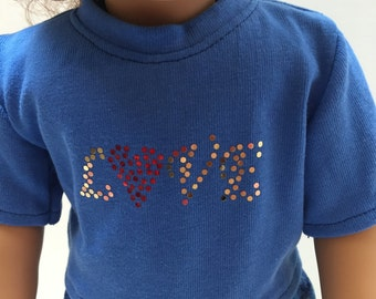 "Ready to sell Love Spangles T-shirt with Shorts 18"" Doll Clothes -  Custom, Boutique, American Made Girl Doll Clothes"