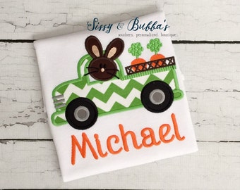 Personalized Bunny in Truck Easter Applique Shirt, boy, carrots, chevron, rabbit, monogram, passover, wagon, train, tractor, eggs