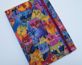 Handmade Journal - Rainbow Kitties - Fabric - Lined Pages - Unique