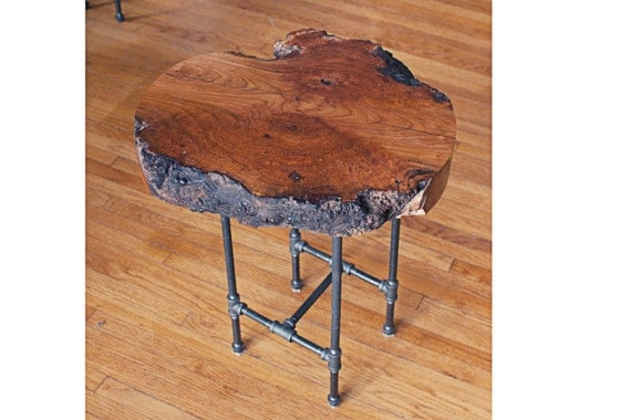 Natural Edge Cherry Burl End Table Live Edge Coffee Table