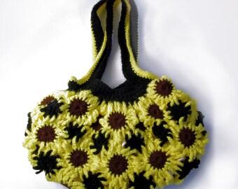 Yellow Sunflower Purse, Crochet Shoulder Bag, Yellow purse, sunflower bag, handbag sunflower